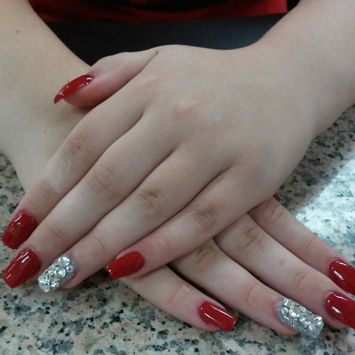 red and silver acrylic nail design