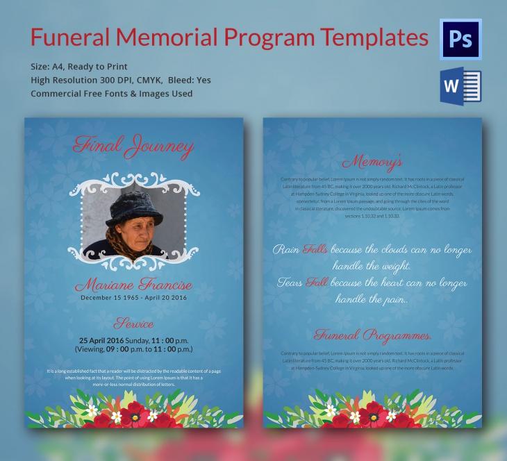 13  funeral memorial templates  u2013 free word  pdf  psd