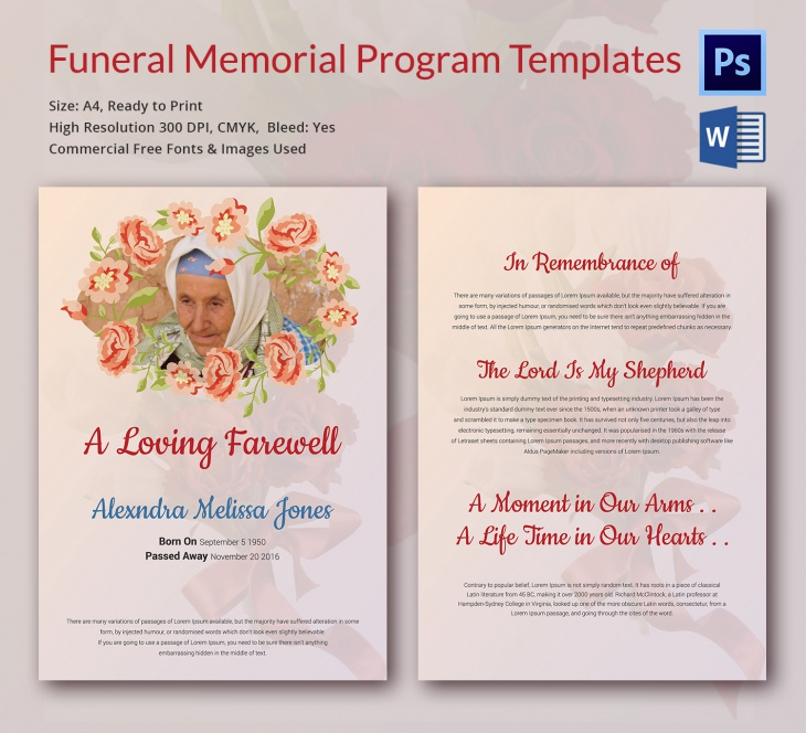 Memorial Cards For Funeral Template Free from images.designtrends.com
