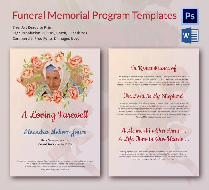 memorial templates