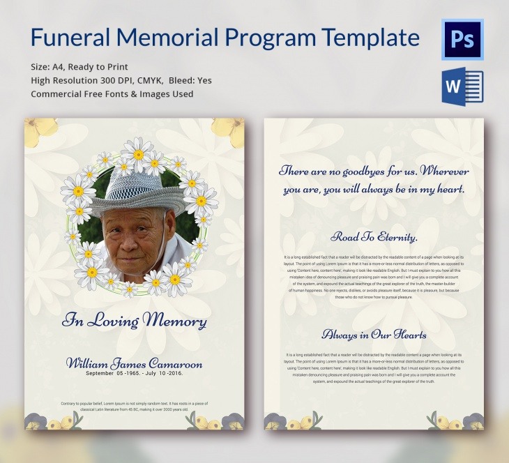 Funeral Memorial Templates  Free Word Pdf Psd Documents