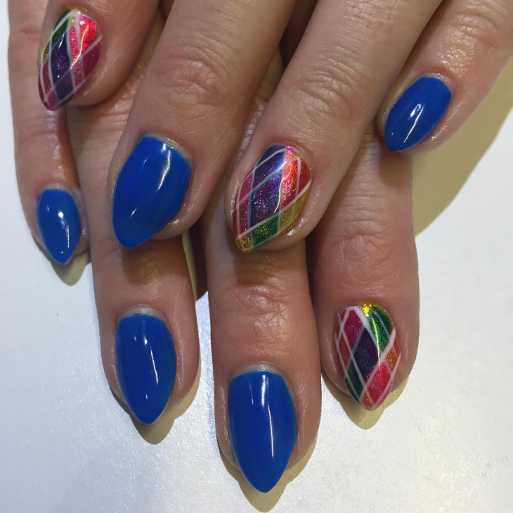 colorful short stiletto nail design
