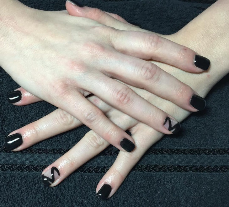 short black gel nail design