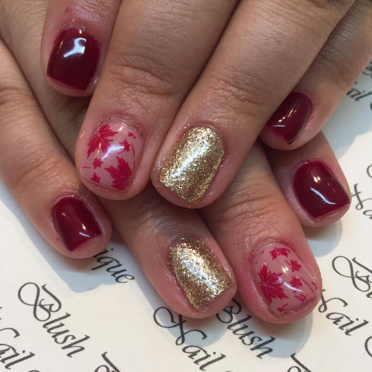 glitter short fall nail design