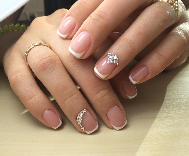 short white french tip nail design