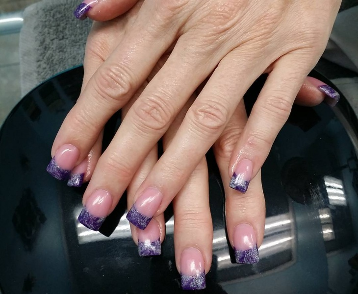 purple and silver acrylic nail design