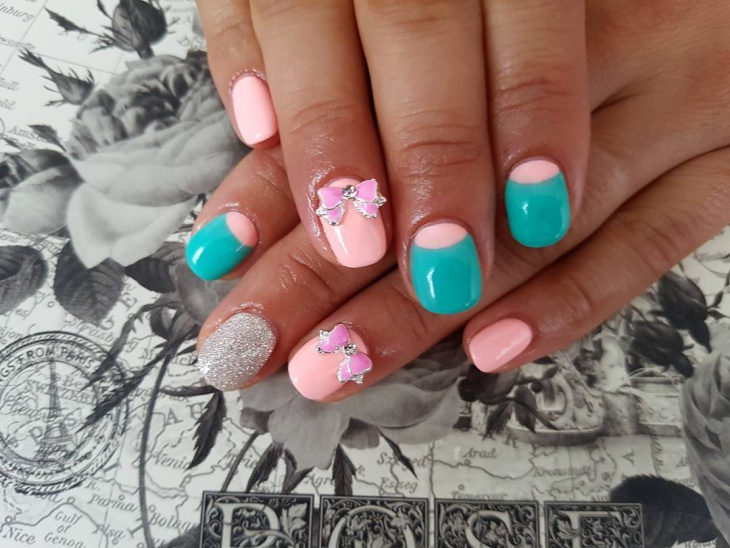 short light pink nail design