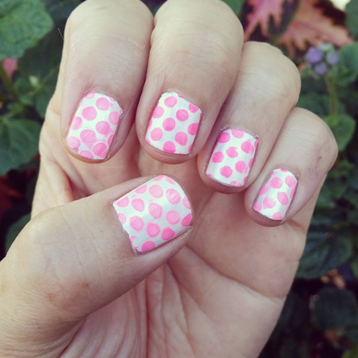 short pink and white nail art