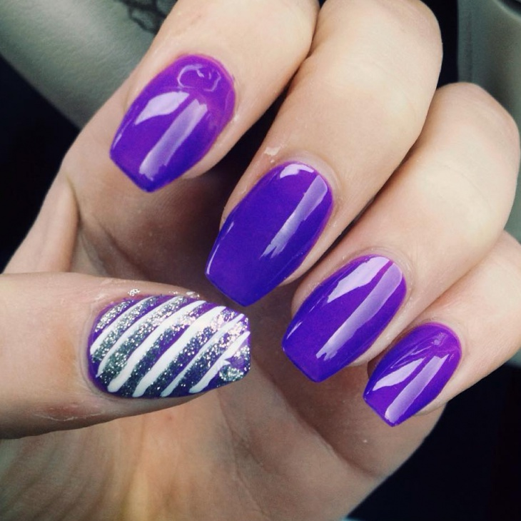 purple coffin acrylic nail design