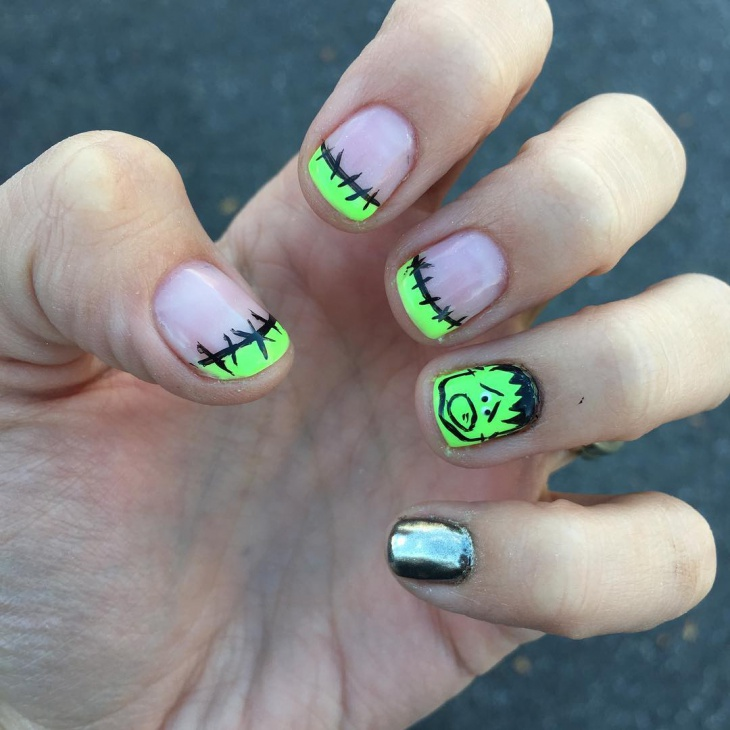 halloween gel nail design for short nails