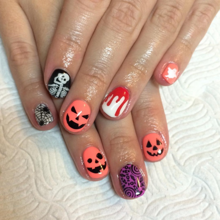 short halloween pumpkin nail design
