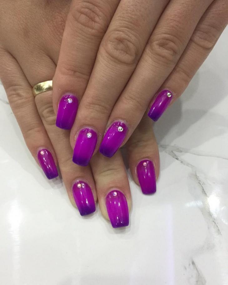 dark purple acrylic nail design