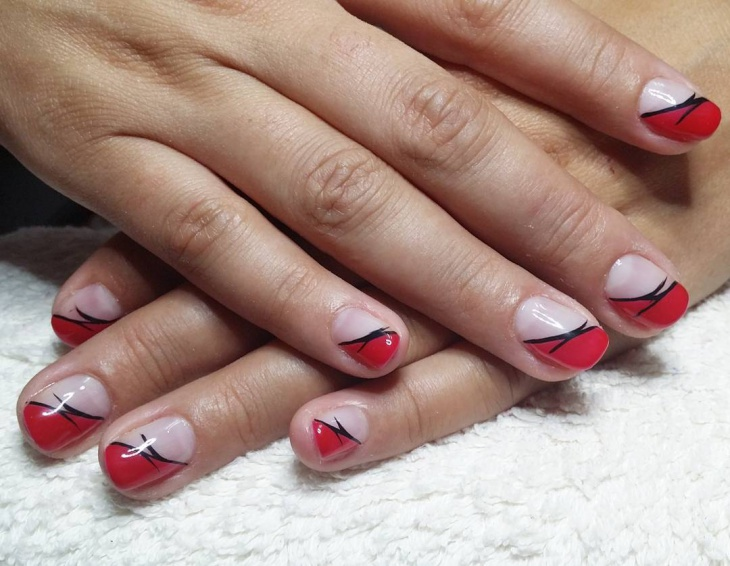 short red and black nail design