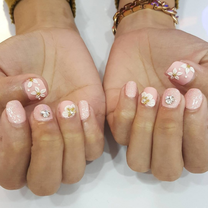 3d flower nail design for short nails