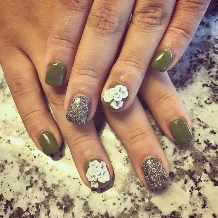 green short 3d nail art design