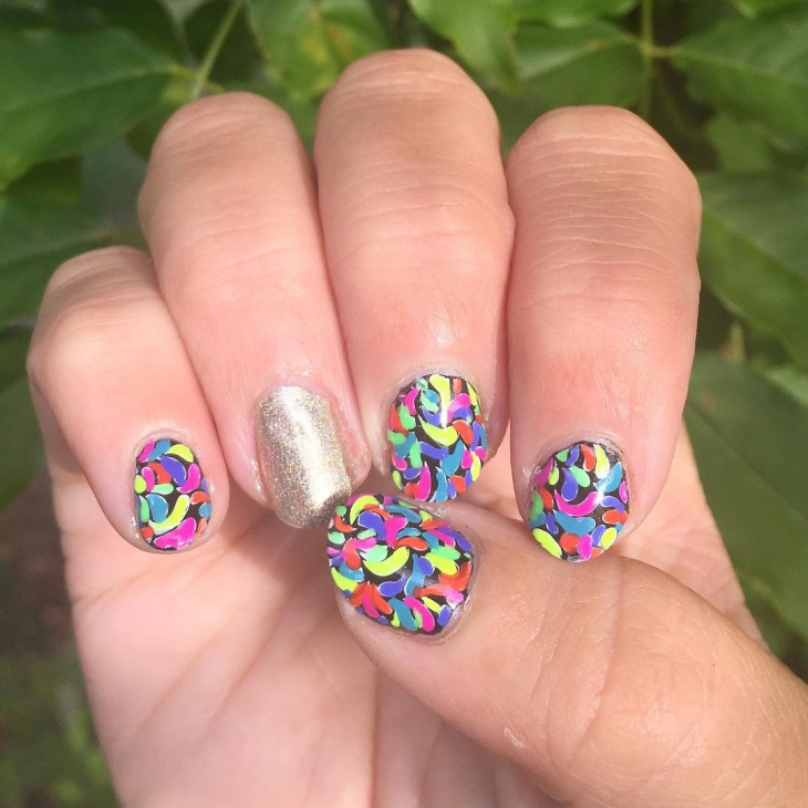 short fun rainbow nail design