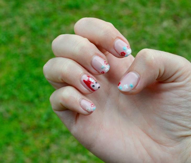 short spring floral nail design