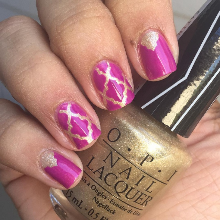 short purple and gold nail design