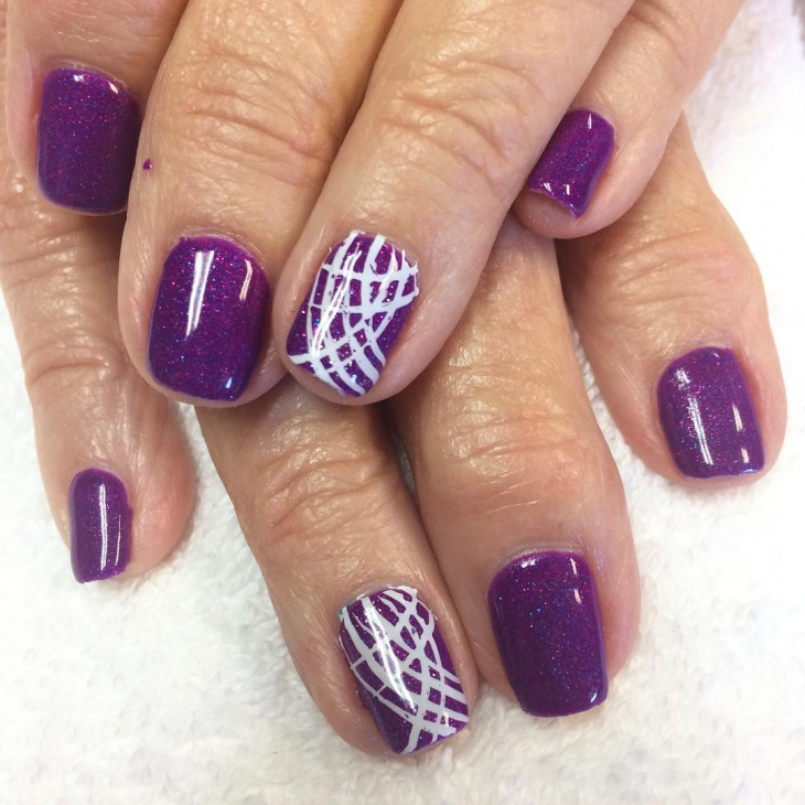 short purple and white nail design