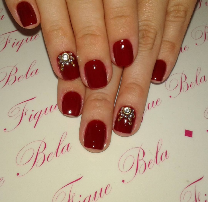 Short Red Nail Design with Rhinestones - 59+ Short Nail Designs, Ideas Design Trends - Premium PSD, Vector
