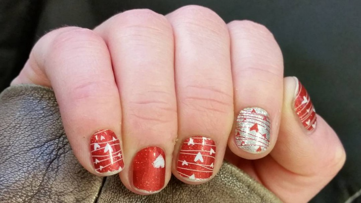 short red and silver nail design