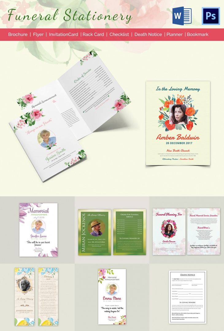 5 Funeral Stationary Templates Free Word PDF PSD Documents – Funeral Checklist Template