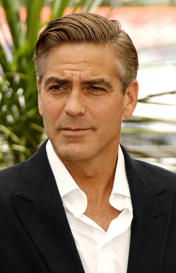 george clooney tapered comb over hair design for men