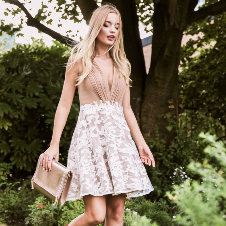 designer wedding guest outfit