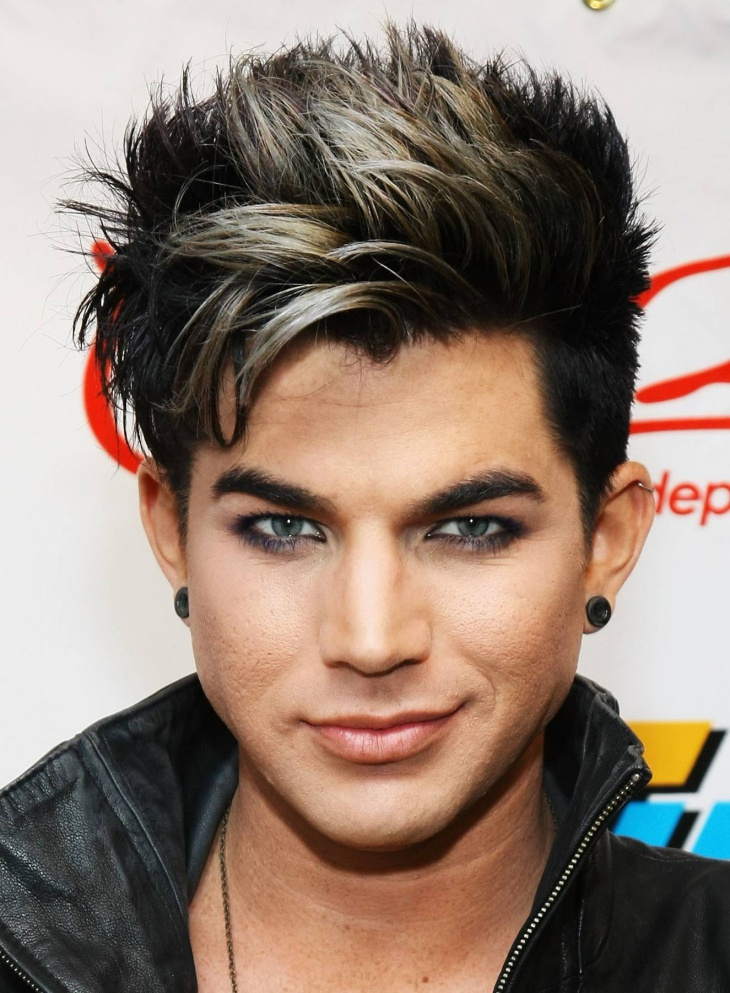 adam lambert two colored emo hairstyle for men