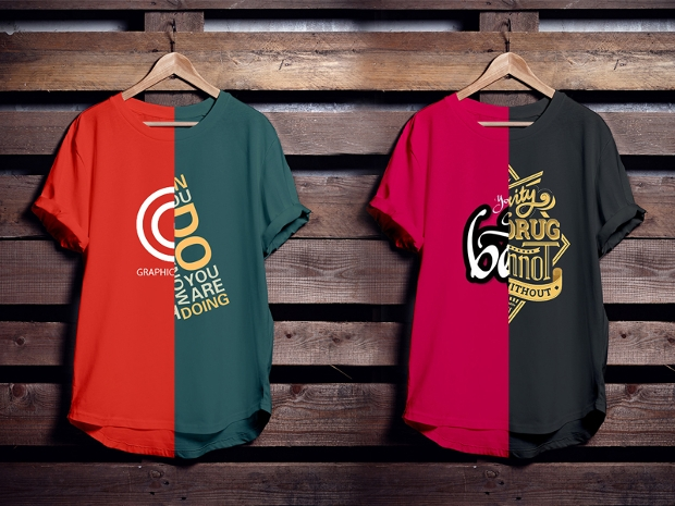 colorful free hanging t shirt mockup