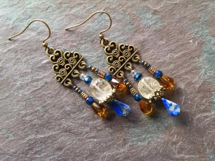 antique citrine earrings