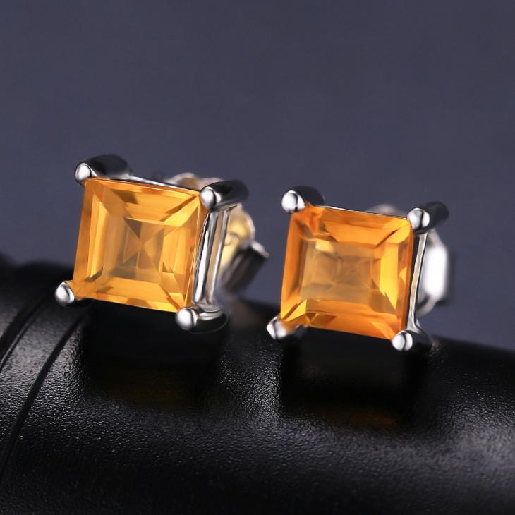 square citrine earrings model