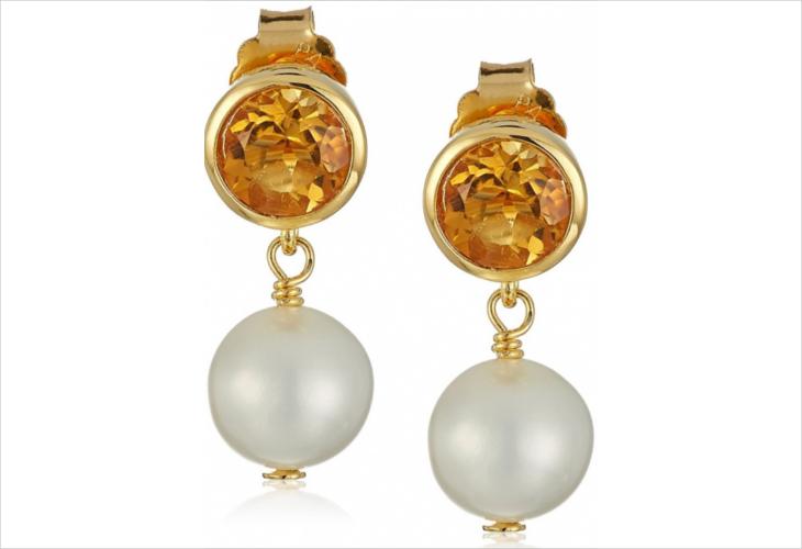 round citrine pearl stud earrings1