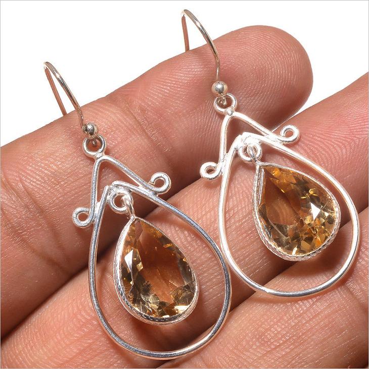 silver citrine earring design1
