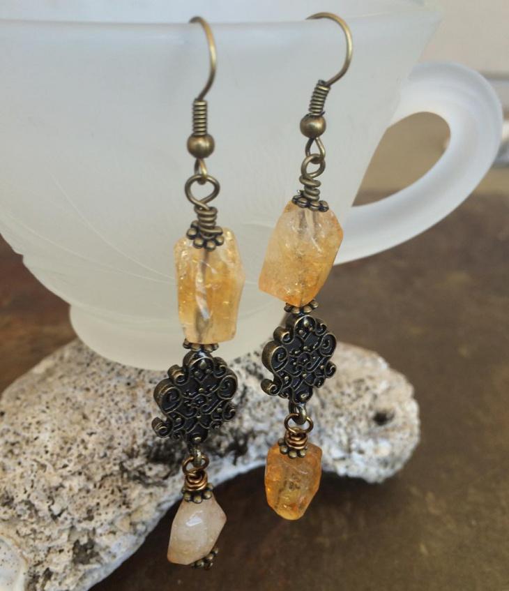 rose gold citrine earrings