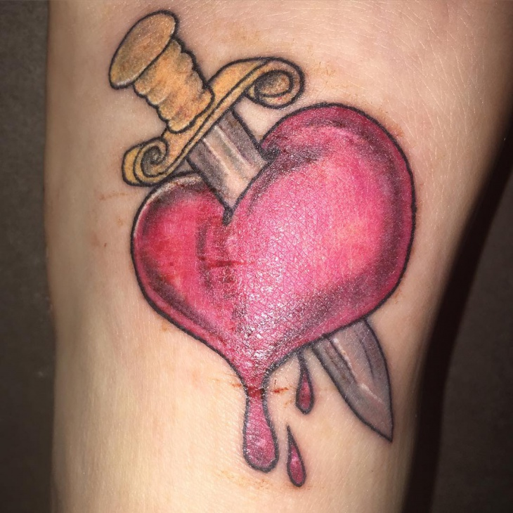 sword broken heart tattoo