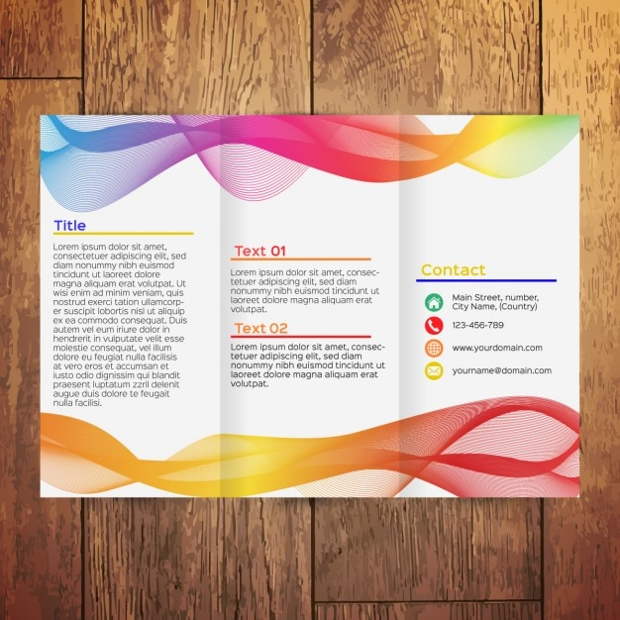Colorful Wavy Tri Fold Brochure
