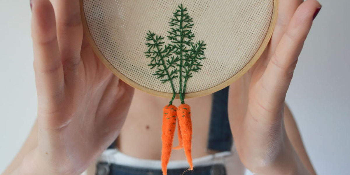 embroidered vegetables