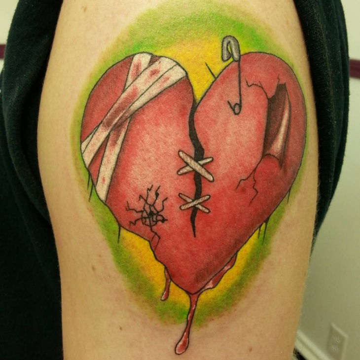 sleeve bleeding heart tattoo