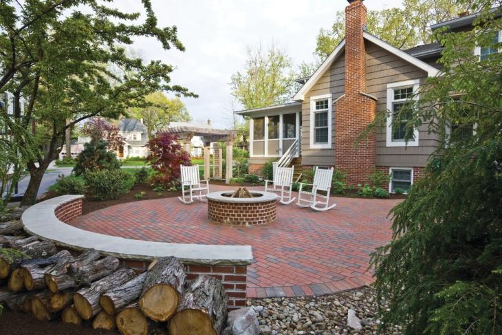 red brick patio design