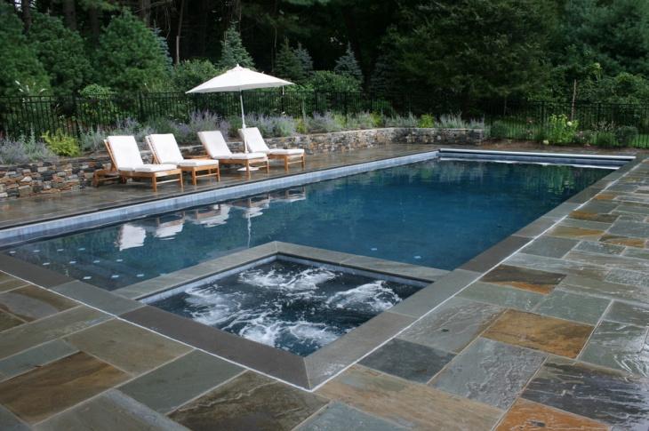 rectangle pool patio design