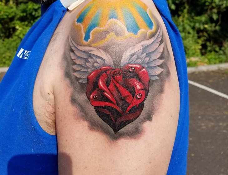 rose heart tattoo for sleeve