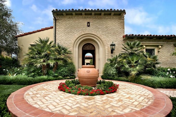 front yard brick patio design