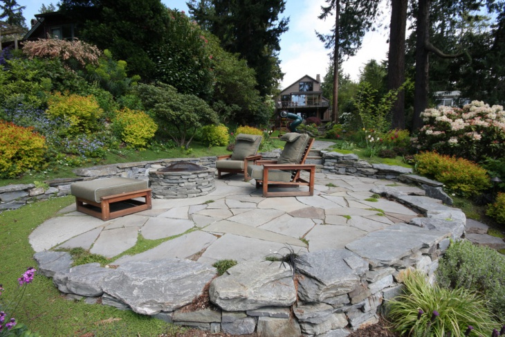 raised stone patio design