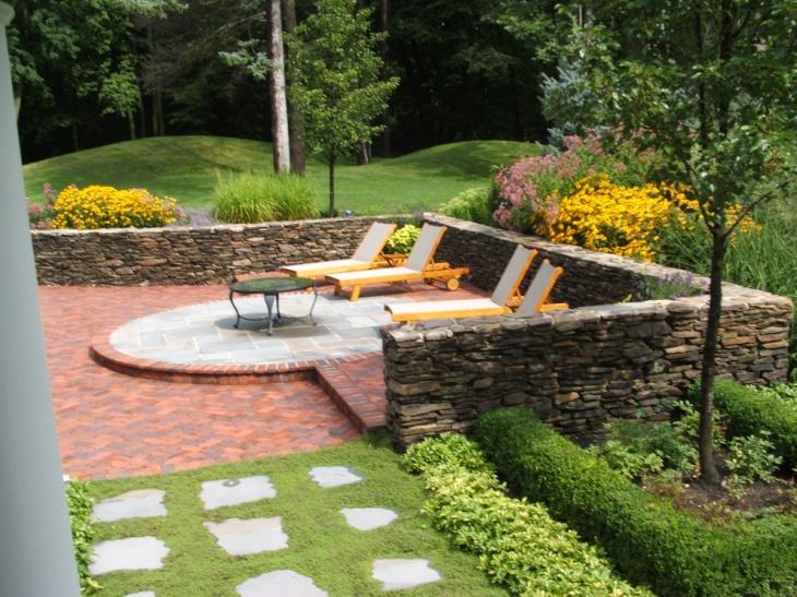raised brick patio design