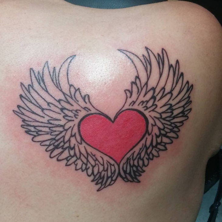 red heart with wings tattoo designs