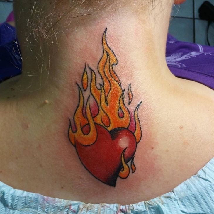 flaming heart tattoo on neck