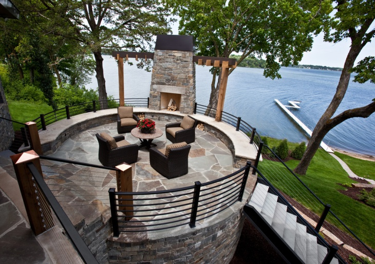 elevated flagstone patio design