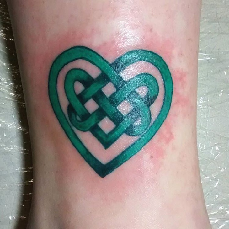 green celtic heart tattoo