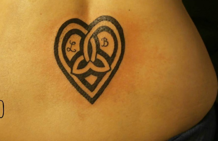 celtic heart tattoo on hip